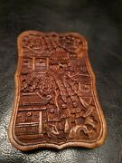Stunning 19th Century Victorian Chinese Deep Carved Wood Calling Card Case