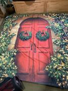 Used Photo Backdrop, Christmas Holiday Scene, Building Wreath Ivy Red Door