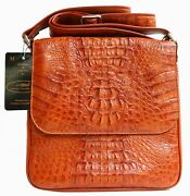 100 Genuine Crocodile Leather Menand039s Messenger Bag Zipand039s Shiny Golden Tan Large