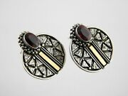 Vintage Sterling Silver And Gold Plated Garnet Stud Earrings 925 Round Shape