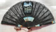 Fan Eventail Important Old Carved And Painted Wood Sticks And Lace Hand Fan