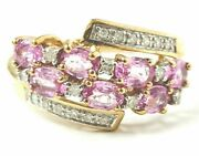 Diamond Ring 9ct Gold Cluster Pink Stone Qvc 2.7g Size O Hallmarked 11mm Wide