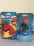 2 X Angry Birds Red Bird And Rio Blue Macaw Backpack Plush Clips 3 Keychain New