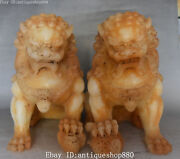12 China Old Jade Carving Feng Shui Foo Fu Dog Guardion Lion Leo Animal Pair