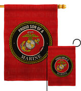 Proud Son Marines Burlap Garden Flag Marine Corps Armed Forces Yard House Banner