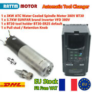 『fra』cnc Atc 3kw Bt30 380v Water Cooled Spindle Automatic Tool Changer+3.7kw Vfd