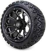 14 Raven Black Ball Mill Golf Cart Wheels And Tires 23x10.00-14 - Set Of 4
