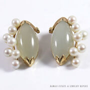 Vintage Pale Jade And Pearl Cluster 14k Yellow Gold French Clip Earrings