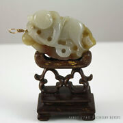 Important 19c Chinese Mutton Fat White Jade Sculpture Pendant And Wooden Base