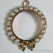 Antique Victorian Pearl And Old Mine Diamond Wreath Circle Pendant 18k Yellow Gold