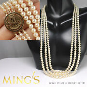 Vintage Mingand039s Hawaii 4-7mm Pearl 3 Strand 14kyg Phoenix Clasp Necklace