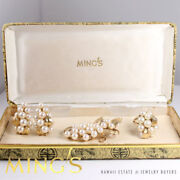 Mingand039s Hawaii Rare Pearl 14k Yellow Gold Brooch Earrings And Ring Set With Box