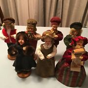 Lot 7 Christmas Victorian Village Carolers Resin Face Figurines Tree Topper