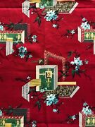 Vintage Barkcloth 5+ Yrd Garnet Red Atomic Asian 40s 50s Mid Century Chinoiserie