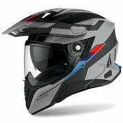 Full-face Adventure Motorcycle Airoh Commander Skill Grey Black Red Blue