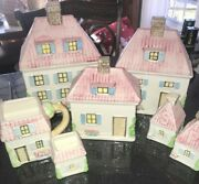 Vtg. Rare Lefton China Hand Painted 8 Piece Pink Cottage Houses Canister Set Euc