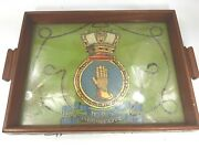 Vintage Hms Indomitable Royal Navy Hand Painted Under Glass Wooden Wood Tray
