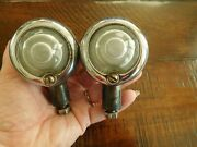 30andrsquos 40andrsquos Early Guide Marker Lights Pair Posts Frosted Lens Harley Indian