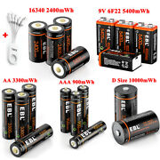 1.5v Aa Aaa 9v 6f22 D Cell 16340 Usb Lithium Li-ion Rechargeable Batteries Lot