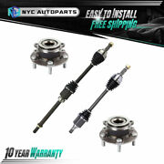 2 Front Cv Axle Shaft + 2 Front Wheel Hub Bearing For 2008-2013 Rogue 2wd W/cvt