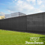 Black 5and039x50and039 Tall Fence Windscreen Privacy Screen Shade Cover Fabric Mesh Garden