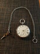 Antique Rare J Harris And Sons Sterling Silver Fusee Pocket Watch Key Wind 1800s