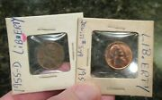 1955 D Ands Lincoln Wheat Penny Cent Bie Rare Mint Dye Error 2 Coins Free Shipping