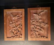 Vintage Carved Chinese Wood Panels From Hong Kong