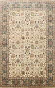 Vegetable Dye Traditional Floral Oriental Area Rug Hand-knotted Wool Ivory 9x12