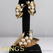 Rare Ming's Hawaii 4-6.8mm Pearl 14k Yellow Gold Leaf Brooch Pin And Clip Earrings