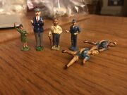 Lot 6 Vintage Toy Lead Figures Barclay Manoil Seated Woman Worker Boy Train Woma