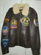 Mickey Mouse Mens Leather Bomber Jacket Brown 449th Flying Aces Squadron N