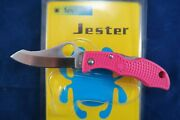 Spyderco Pink Jester Japanese Clamshell Edition Aus-6 Rare And Collectible Mint