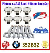 Je 3.425 87.00 Mm 9.01 Cr Pistons / Eagle H-beam Rods Set For Bmw S52b32 Us