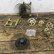 Ansonia Clock Parts Lot 1882 Gong Gears Wheels Springs Antique Vintage