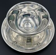 Wallace Sterling Silver 925 Rose Point 1934 Gravy Bowl W/ Attached Underplate