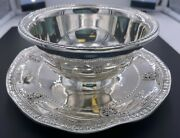 Wallace Sterling Silver 925 Rose Point Ruffled Gravy Bowl W/ Attached Underplate