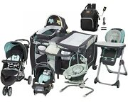 Baby Stroller Travel System With Car Seat Playard Swing High Chair Bag Combo Set