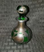 Green Glass Sterling Silver Overlay Perfume Bottle With Stopper Circa 1900and039s