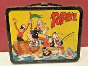 Vintage 1964's Popeye Metal Lunch Box Thermoses Box Cartoon Collectibles Antique