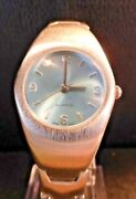 Brushed Stainless Steel Ladies Watch Fold Over Clasp Pale Blue Dial Nwot