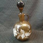 Antique Mary Gregory Decanter Cruet Brown Blown Glass Painted