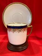 Mint Theodore Haviland Limoge Mustache Cup/saucer - Blue And Gold 9608
