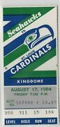 Seattle Seahawks Used Nfl Ticket Stud Game Aug. 17 1984 Vs. St. Louis Cardinals