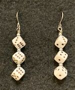 Casino Earrings Stainless Hook Dice Roll Adult Sport Game Of Skill Luck Chance