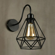 Industrial Vintage 1 Led Wall Sconce Diamond Shape Cage Frame Wall Lamp Lights