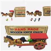 Vintage Japanese Hand Carved Made Toy Horse Wagons 1950s Wooden Knick Knack Lot