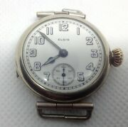Vintage 1919 Elgin Military Officers J7 Trench Watch W/ White Dial
