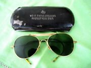 1950's American Optical Green Aviator Style Goggles Ao And Safety Glasses Case