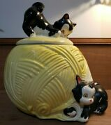Vintage American Bisque Kittens On Yellow Yarn Ball Cookie Jar 1950and039s Great Cond